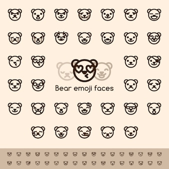 Bear emoji faces line