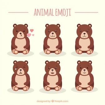 Orso emojis con diverse espressioni facciali