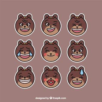 Orso emojis con facce divertenti e fiocco decorativo