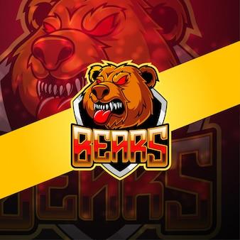 クマのeスポーツマスコットロゴ