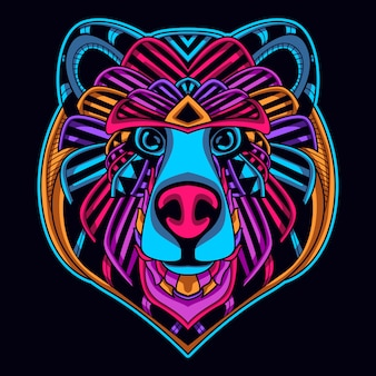 Bear face in neon color