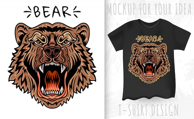 Bear face and t-shirt in vintage monochrome style