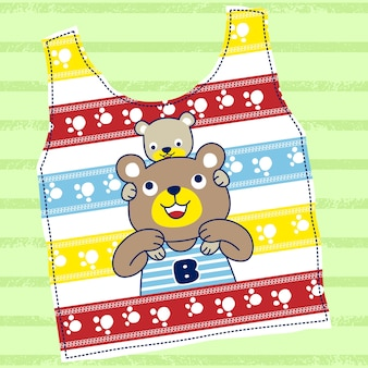 Bear family on colorful t shirt template