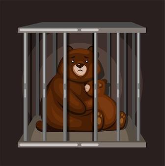 감금소에있는 곰 가족. 만화 벡터에 동물 그림 개념을 저장