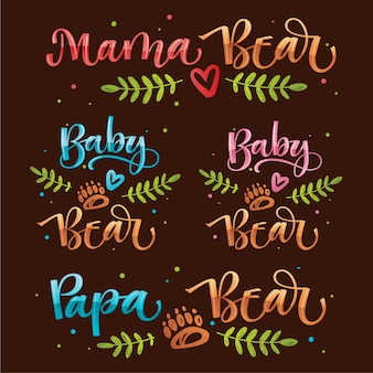 Bear family look quote calligraphy. handdraw colorful vector calligraphy with simple hand drawn bear foot and leafes decor.