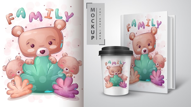 Bear family poster and merchandising