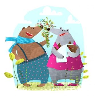 Медведь семья с новорожденным ребенком, представляя цветы