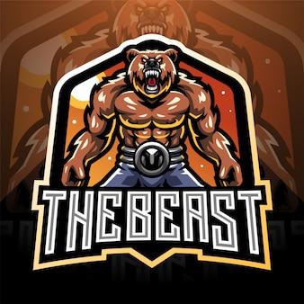 Bear fighter esport mascot logo