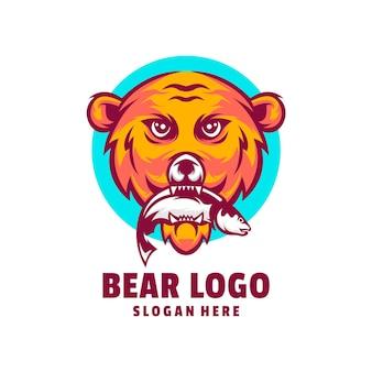 Bear fish logo design vector