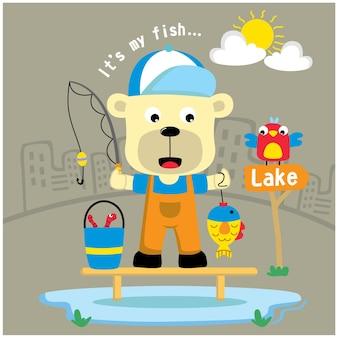 Bear the fisherman funny animal cartoon