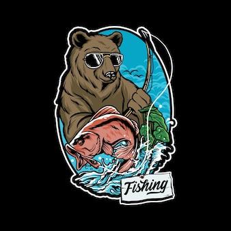 Bear fishing salmon