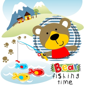 Bear fishing with landscape background