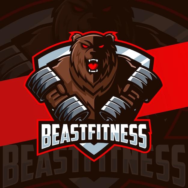 Медведь фитнес бодибилдинг талисман киберспорт дизайн логотипа
