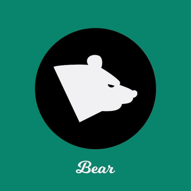 Bear flat icon design, logo symbol element