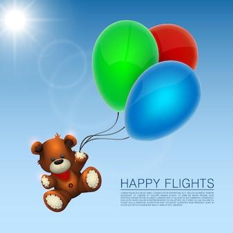 Bear flies on the balloons. vector illustration