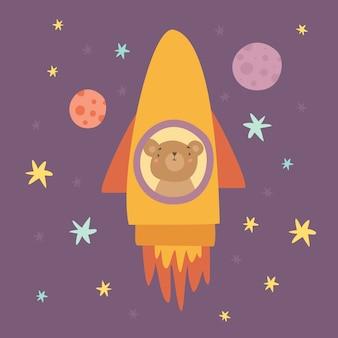 ロケットで飛んでいるクマ