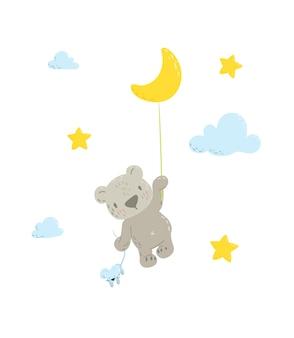 月の気球で飛んでいるクマ