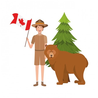 Bear forest anima and rangerl of canada