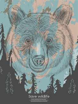 Bear in the forest save wildlife vintage poster vector