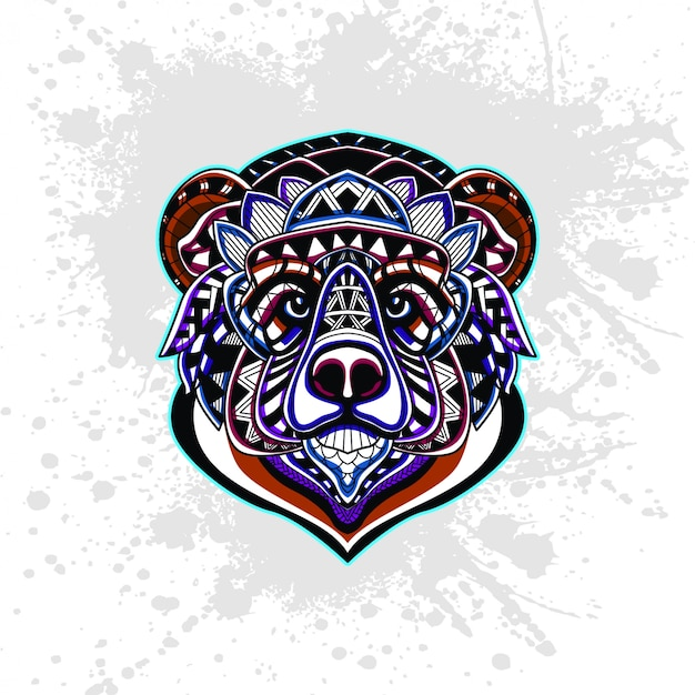 Bear from abstract decorative pattern