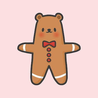 Bear gingerbread cookie christmas hand drawn cartoon style
