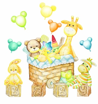 Медведь, жираф, кролик, конь, зебра, корзина, для игрушек. акварельные картинки в мультяшном стиле