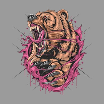 Bear grizzly angry v artwork