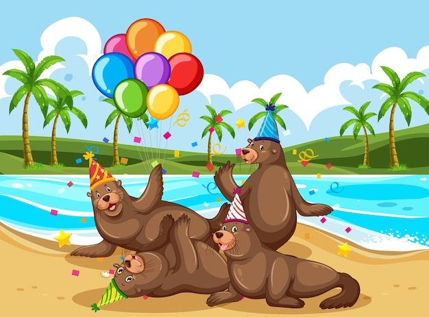 Bear group in party theme cartoon character on beach