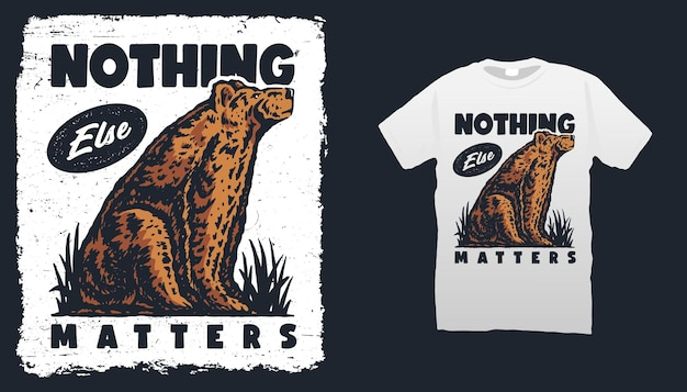 Медведь рисованной футболки шаблон