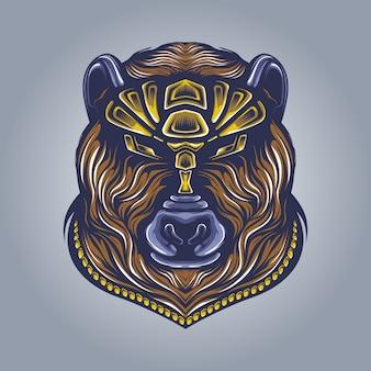 Bear head artwork illustration