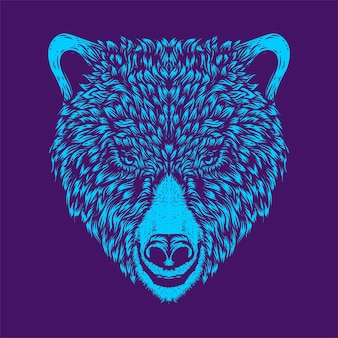 クマの頭のアートワークのイラスト
