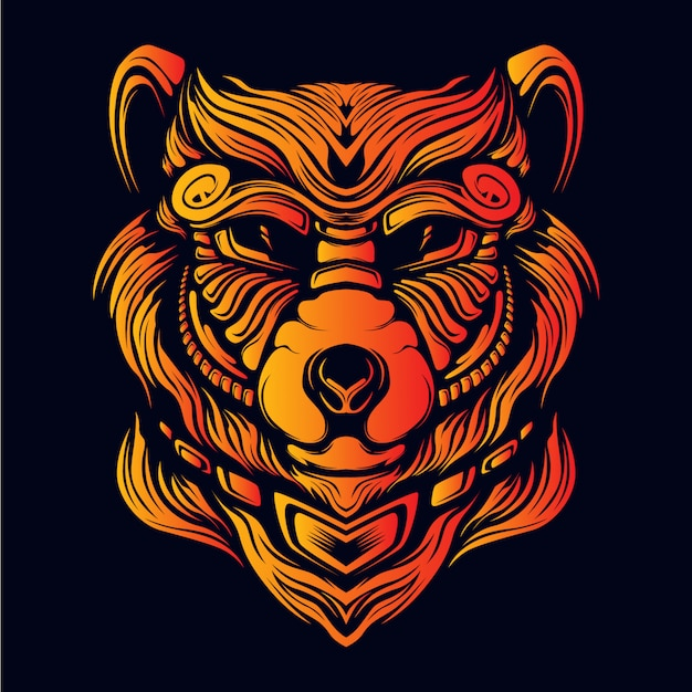 Bear head artwork illustration