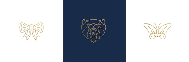 Bear head and butterfly illustrations minimal linear style