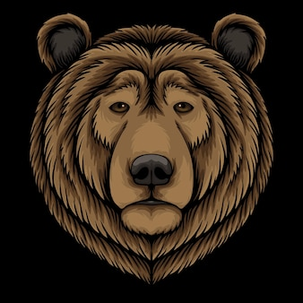 Bear head cartoon illustration on black background
