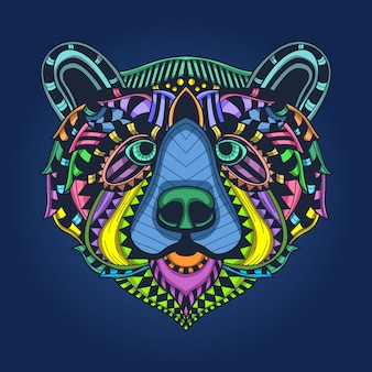Bear head colorfull pattern