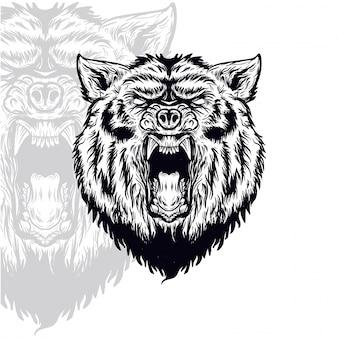 Bear head furious vector illustration