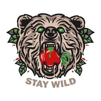 Bear head illustration isolated