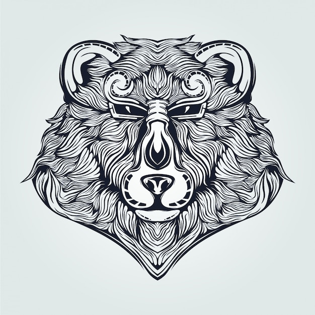 Bear head line art in dark blue color