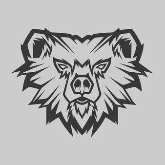 Bear head line art иллюстрация