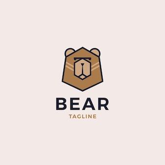 クマの頭のロゴのデザインイラスト