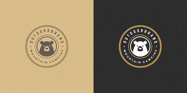 Медведь голова логотип эмблема векторные иллюстрации силуэт для рубашки или печати штамп. винтажный значок типографии или дизайн этикетки.