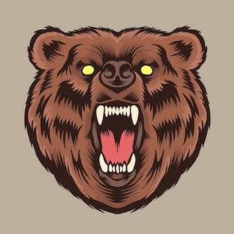 Иллюстрация логотипа головы медведя