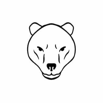 Bear head logo symbol stencil design tattoo vector illustration