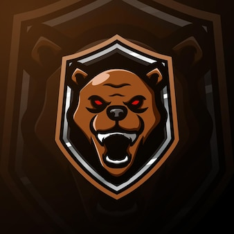 Bear head mascot esport illustration