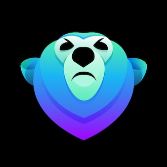 クマの頭のモダンなグラデーションカラフルなロゴ
