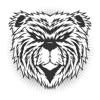곰 머리 흑백 상세한 벡터 디자인 컨셉