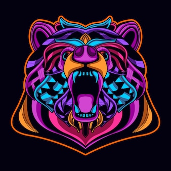 Bear head in neon color art style