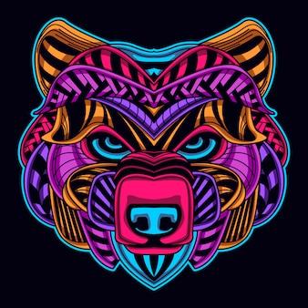 Bear head in neon style
