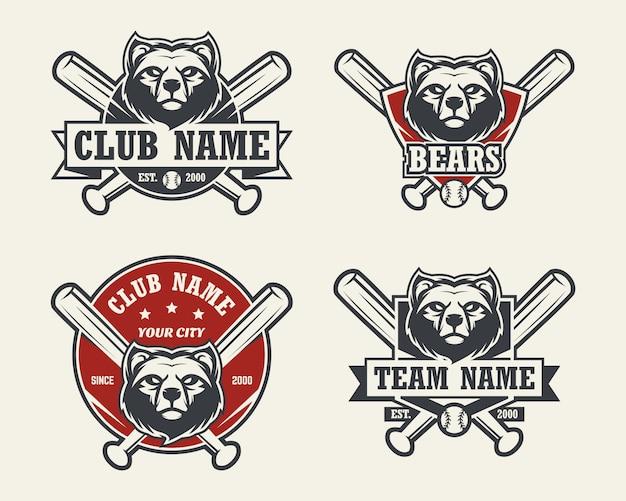 곰 머리 스포츠 로고. 야구 엠블럼, 배지, 로고 및 레이블 집합입니다.