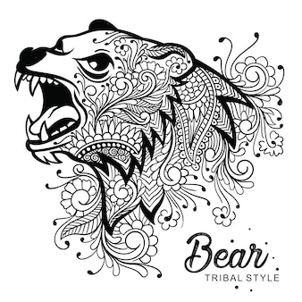 Bear head tribal style hand drawn
